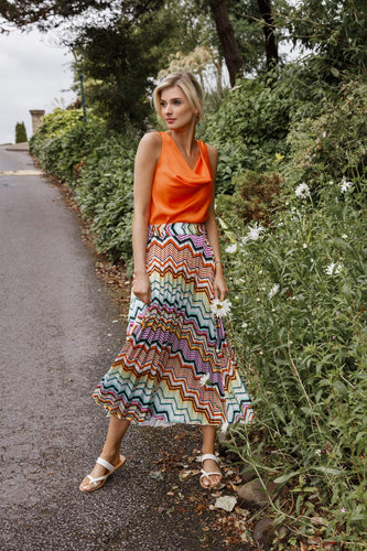 Pala D'oro Skirts Pleat Midi Skirt in Multi Print