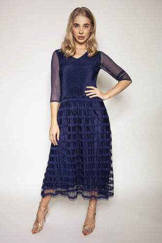 Rowen Avenue Dresses Navy / S / Midi Pleated Dress in Navy
