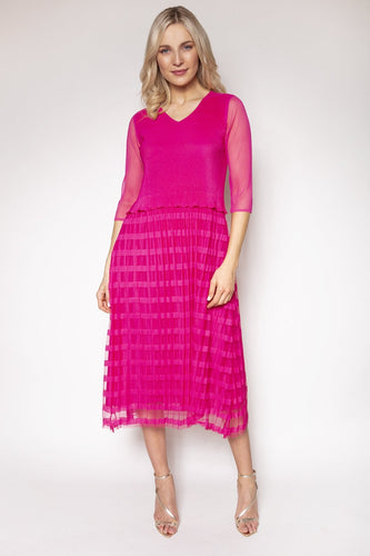 Rowen Avenue Dresses Pink / S / Midi Pleated Dress in Pink