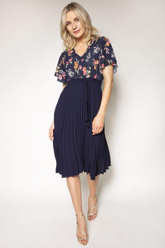 Pala D'oro Dresses Pleated Print Dress in Navy