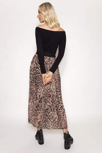 Pala D'oro Skirts Animal / One / Maxi Pleated Skirt in Animal Print