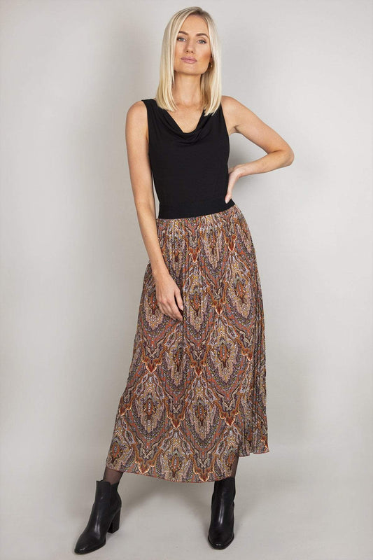 Pala D'oro Skirts Multi / One / Maxi Pleated Skirt in Multi Print
