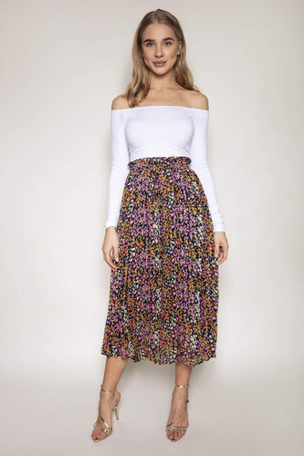 Rowen Avenue Skirts Multi / S-M / Midi Pleated Skirt in Multi Print