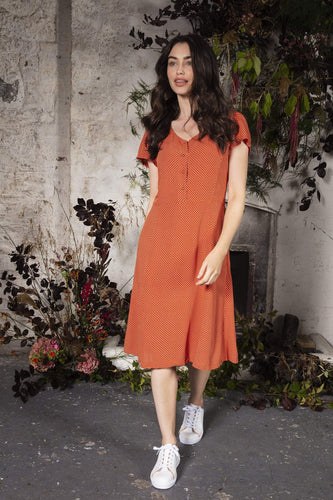 Rowen Avenue Dresses Polka Dot Dress in Rust