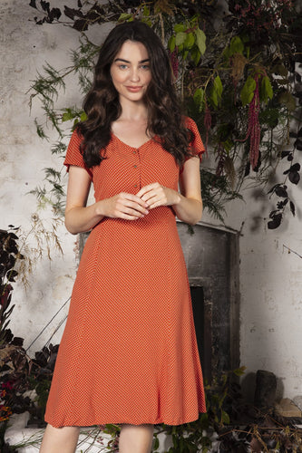 Rowen Avenue Dresses Orange / 8 / Midi Polka Dot Dress in Rust