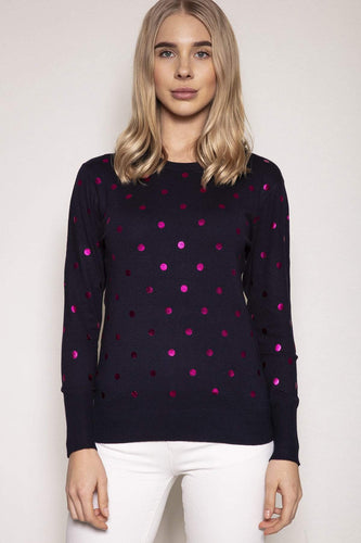 Rowen Avenue Jumpers Navy / S Polka Dot Knit in Navy