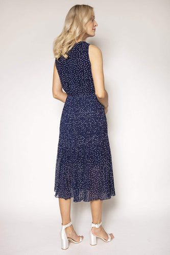 Rowen Avenue Dresses Polka Dot Midi Dress in Navy