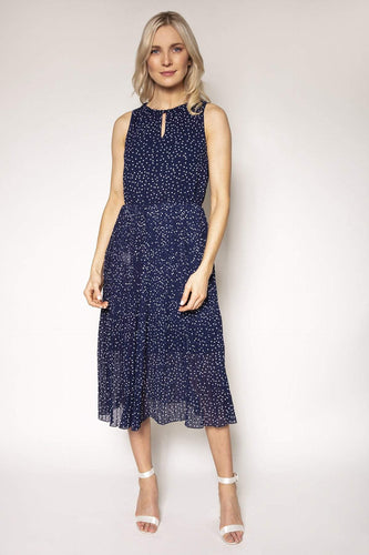 Rowen Avenue Dresses Navy / 8 / Midi Polka Dot Midi Dress in Navy