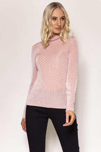 Kelly & Grace Weekend Tops Pink / S / Long Sleeve Polka Dot Roll Neck Top in Pink