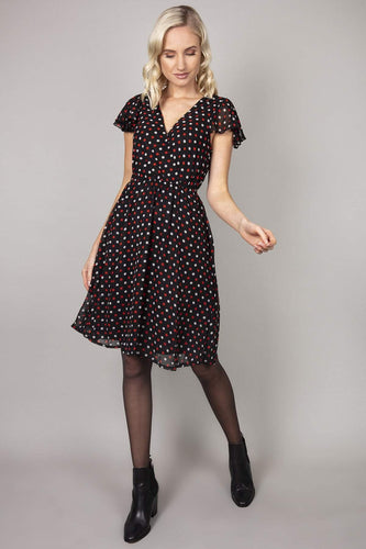 Mela London Dresses Black / 10 / Over The Knee Polka Dot Ruffle Sleeve Dress in Black