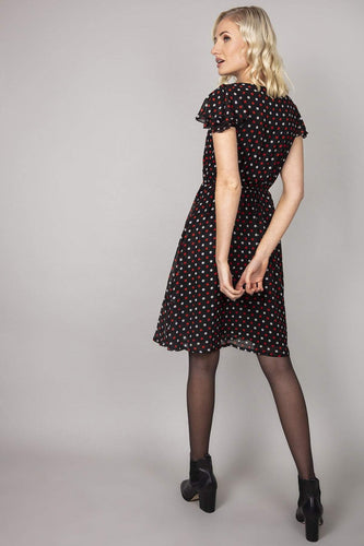 Mela London Dresses Polka Dot Ruffle Sleeve Dress in Black