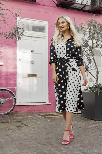 Rowen Avenue Dresses Polka Dot Shirt Dress in Black and White