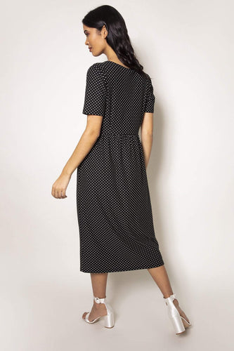 Rowen Avenue Dresses Polka Dot Tee Dress in Black