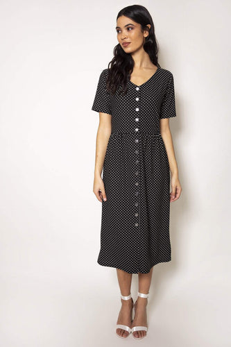 Rowen Avenue Dresses Black / S / Midi Polka Dot Tee Dress in Black