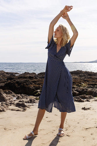 Rowen Avenue Dresses Polka Dot Wrap Dress in Navy