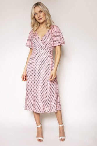 Rowen Avenue Dresses Polka Dot Wrap Dress in Pink