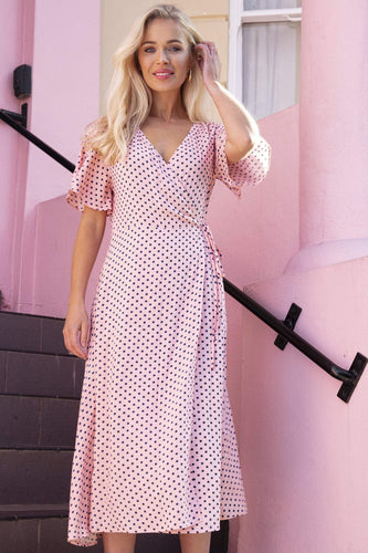 Rowen Avenue Dresses Pink / 8 / Midi Polka Dot Wrap Dress in Pink