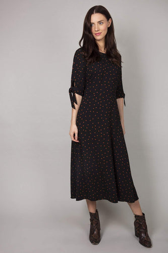 Rowen Avenue Dresses Black / 10 / Midi Polka Dress in Black