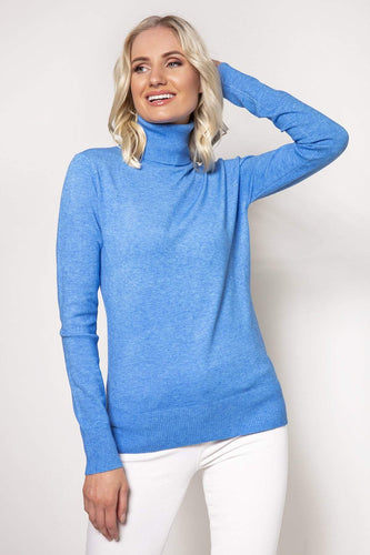 J'aime la Vie Jumpers Blue / S/M Polo Knit in Blue