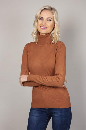 J'aime la Vie Jumpers Brown / S/M Polo Knit in Cinnamon