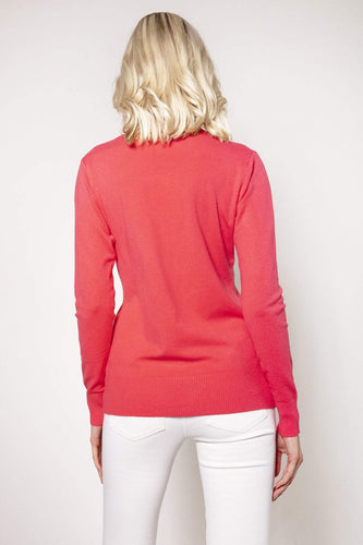 J'aime la Vie Jumpers Polo Knit in Coral