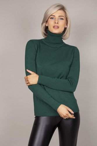 J'aime la Vie Jumpers Green / S/M Polo Knit in Green