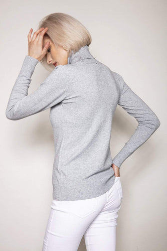 J'aime la Vie Jumpers Polo Knit in Light Grey