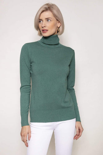 J'aime la Vie Jumpers Green / S/M Polo Knit in Sage