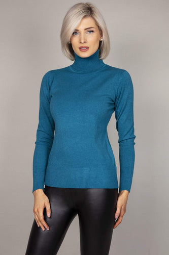 J'aime la Vie Jumpers Teal / S/M Polo Knit in Teal