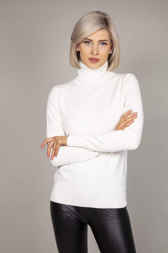 J'aime la Vie Jumpers White / S/M Polo Knit in White