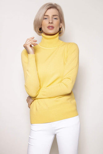 J'aime la Vie Jumpers Yellow / S/M Polo Knit in Yellow