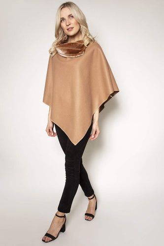 Pala D'oro Ponchos One / Camel Poncho with Faux Fur Trim in Camel