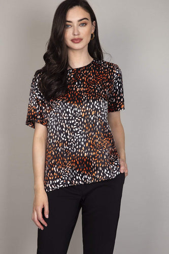 Rowen Avenue Tops Animal / S Print Satin Top in Black