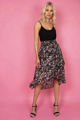 Rowen Avenue Skirts Black / S / Midi Print Skirt in Black