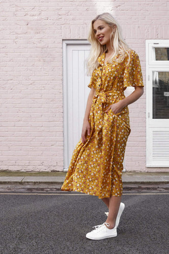 Rowen Avenue Dresses Printed Shirt Dress in Yellow