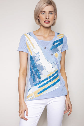 Kalisson Tops 10 / Blue / Short Sleeve Printed Top in Blue