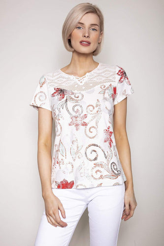 Kalisson Tops 10 / White / Short Sleeve Printed Top in White