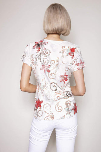 Kalisson Tops Printed Top in White