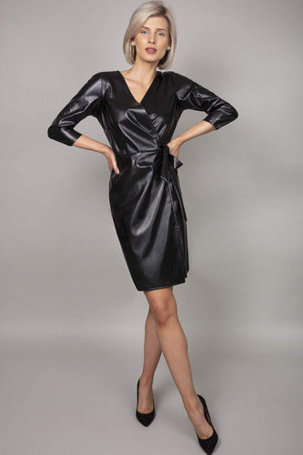 J'aime la Vie Dresses Black / 10 / Over The Knee Pu Front Wrap Dress in Black