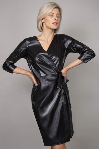 J'aime la Vie Dresses Pu Front Wrap Dress in Black