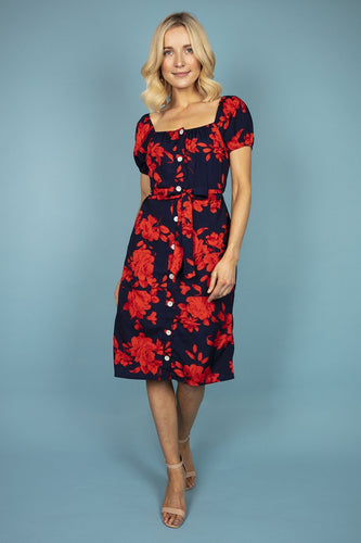 Nova of London Dresses Navy / 8 / Midi Puff Sleeve Floral Dress in Navy