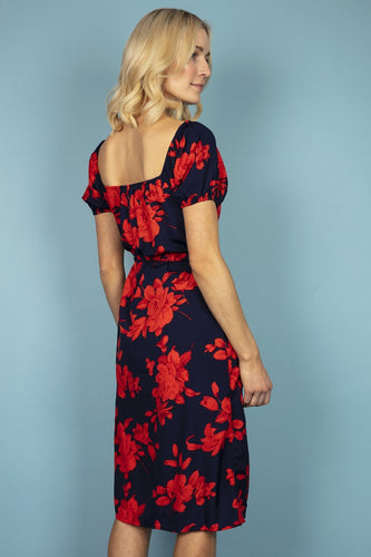 Nova of London Dresses Puff Sleeve Floral Dress in Navy