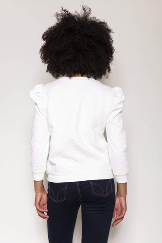 Rowen Avenue Jumpers Puff Sleeve Jersey Top in Ivory