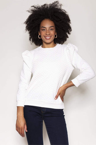 Rowen Avenue Jumpers Ivory / S Puff Sleeve Jersey Top in Ivory