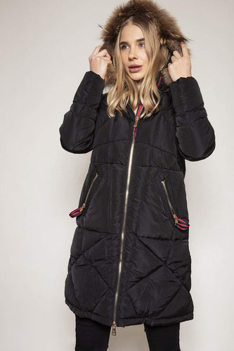 Pala D'oro Jackets Puffa Jacket with Faux Fur Trim in Black