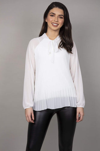 Pala D'oro Blouses White / S/M Pussy Bow Pleated Blouse in White
