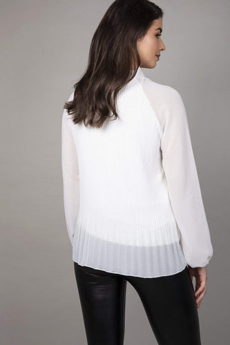 Pala D'oro Blouses Pussy Bow Pleated Blouse in White