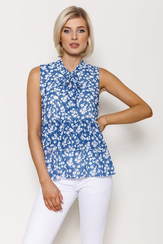 Pala D'oro Tops Blue / S/M / Sleeveless Pussybow Pleat Top in Blue Print