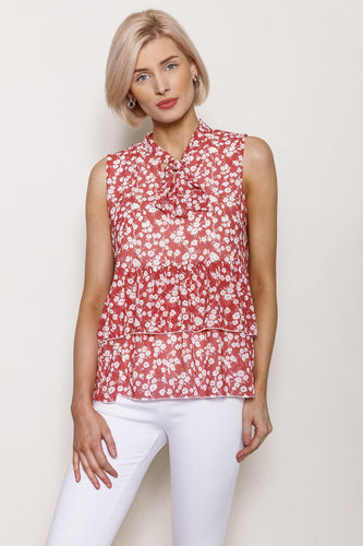 Pala D'oro Tops Brick / S/M / Sleeveless Pussybow Pleat Top in Brick Print
