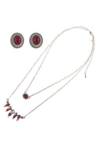 Soul Jewellery Jewellery Sets Rose Gold Red Gem Stone Necklace & Earring Set - SOUL Special